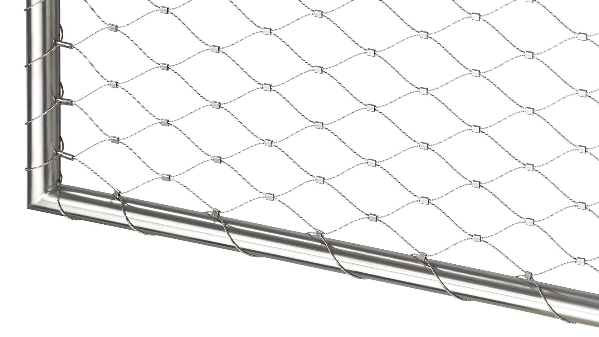 Balustrades for balconies and terraces with stainless steel nets