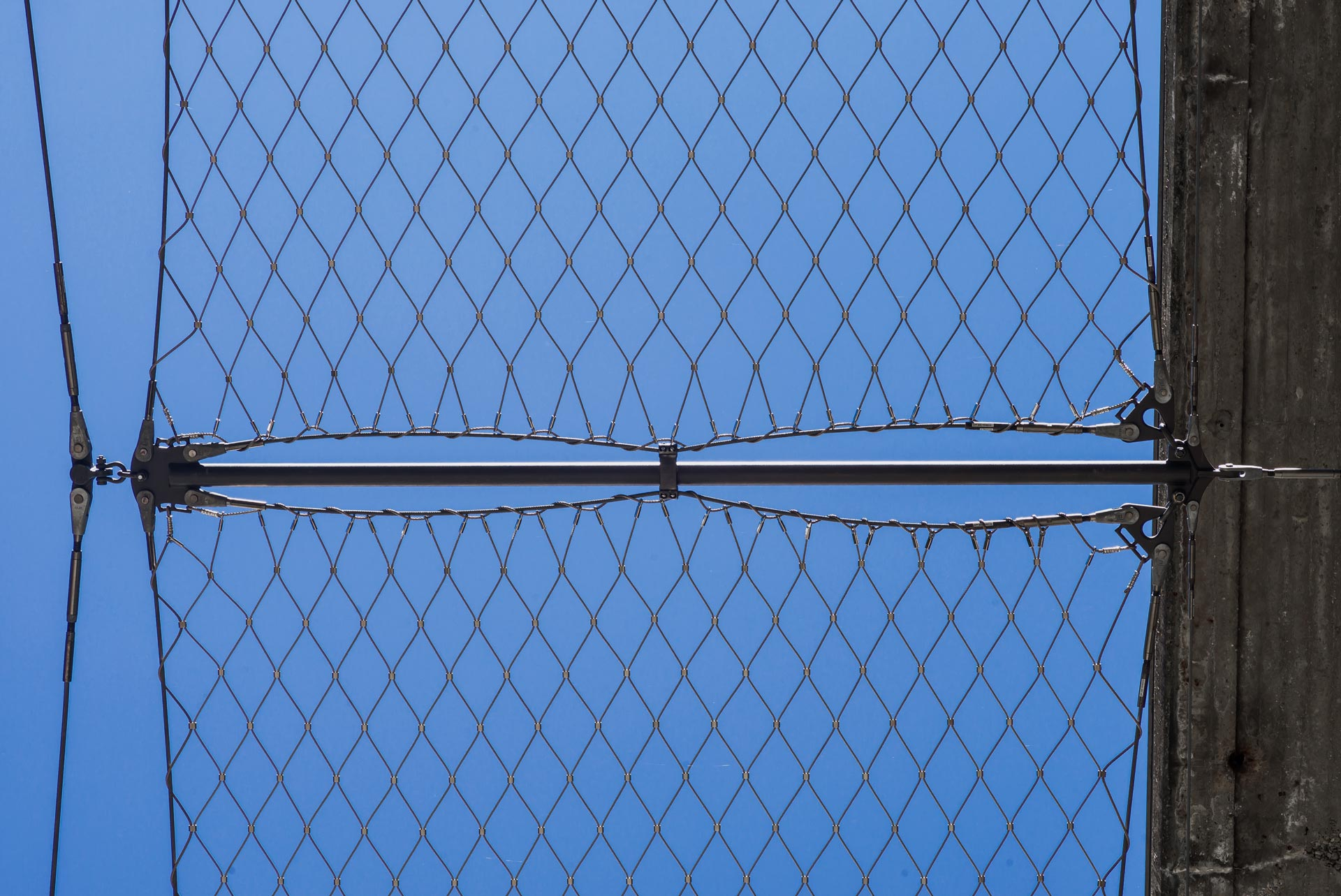 bridge safety net made from steel and blue sky