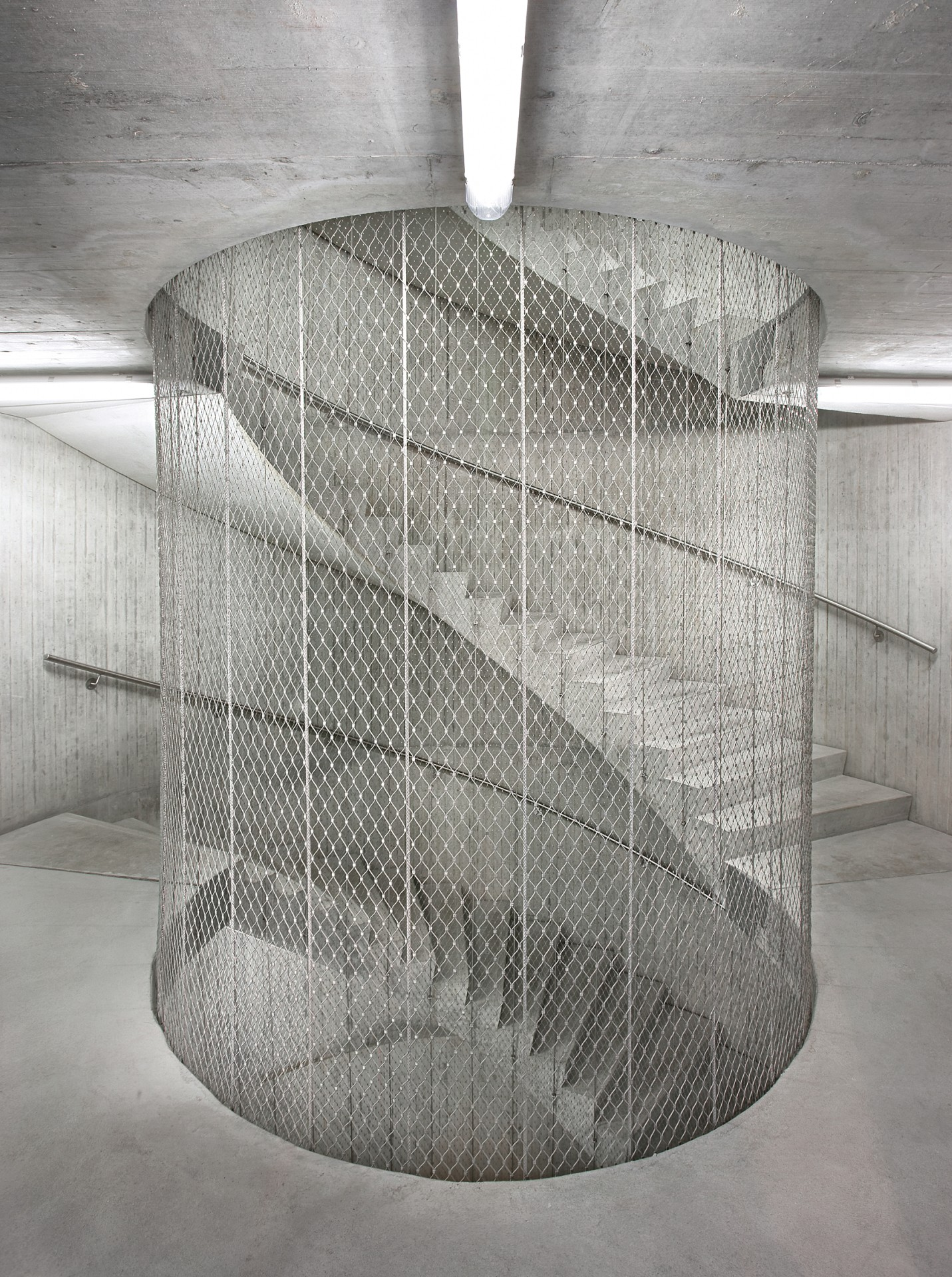 round staircase secured with webnet stainless steel wire mesh