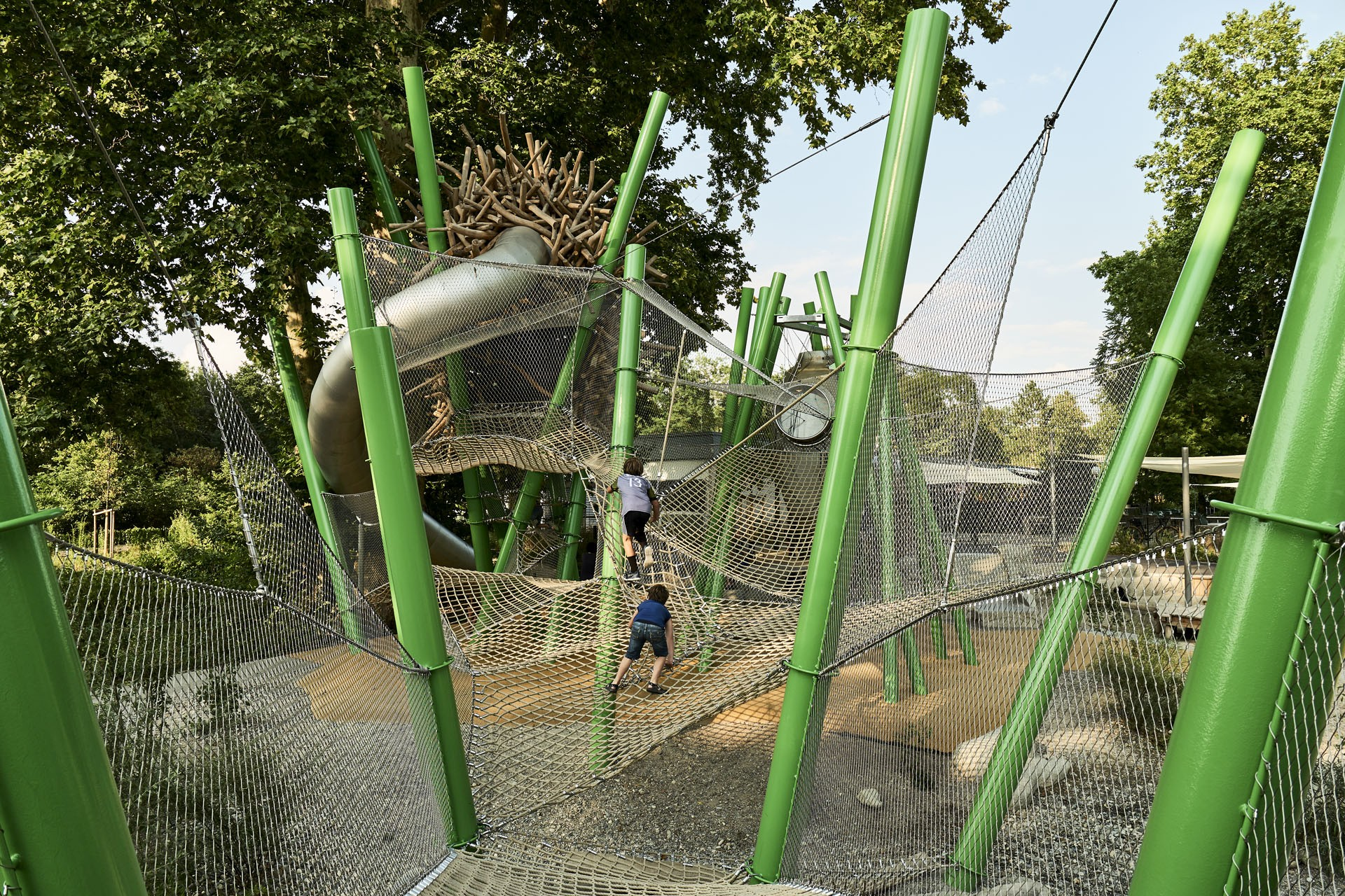 modern playground with wire meshes and textile nets