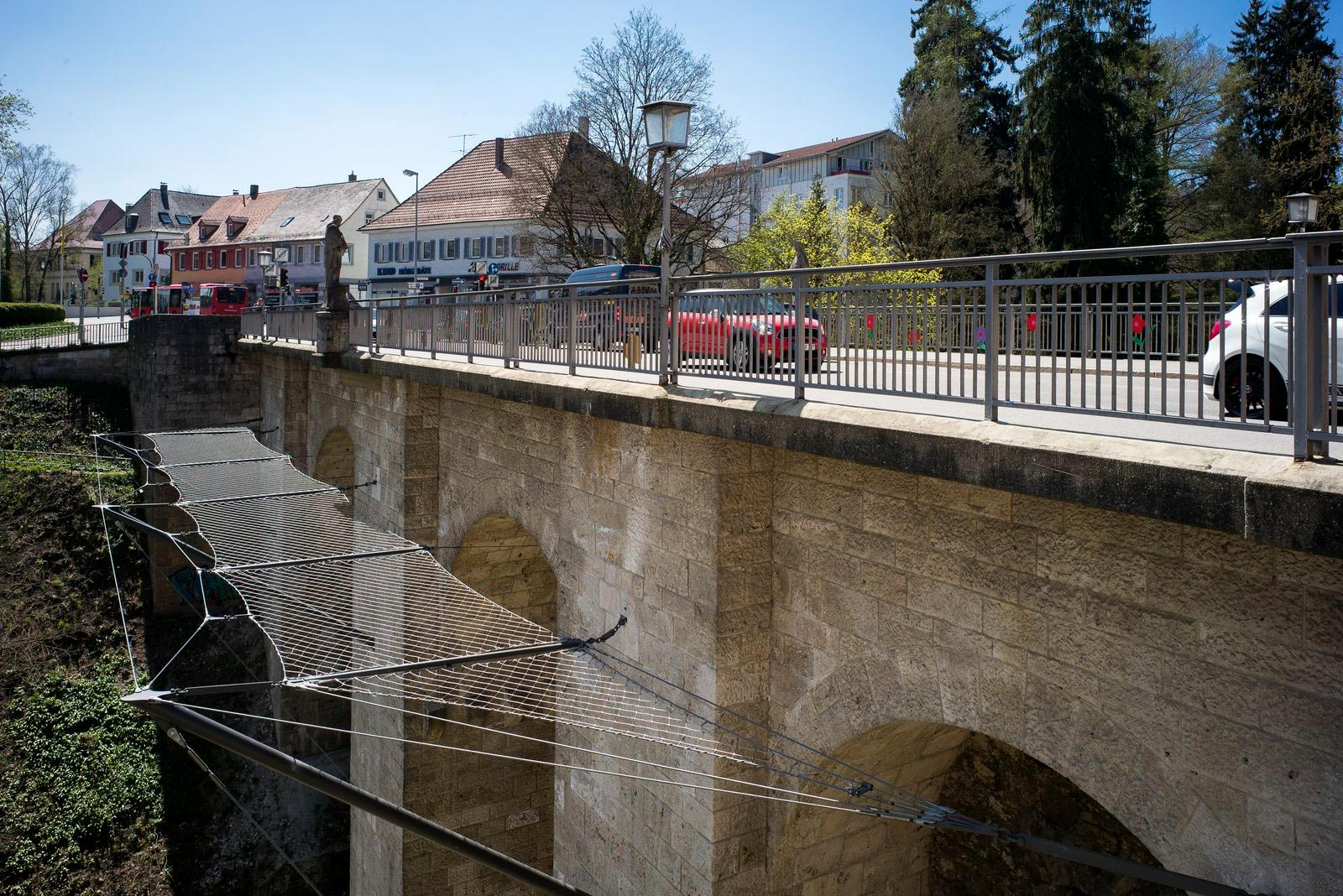 The Hochbrücke in Rottweil, Germany, with a safety and suicide prevention net by Jakob Rope Systems