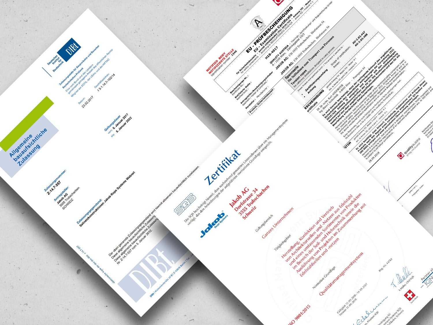 Collage of certificates by Jakob Rope Systems