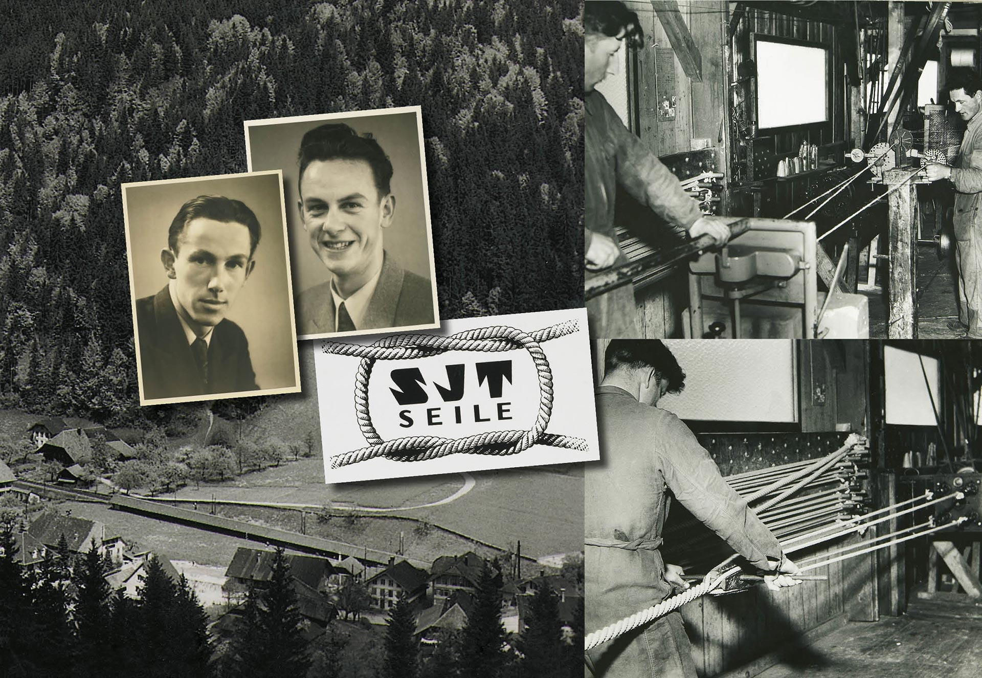 Montage of images of fibre rope making in the 1950s and images of Hans junior and Eduard Jakob