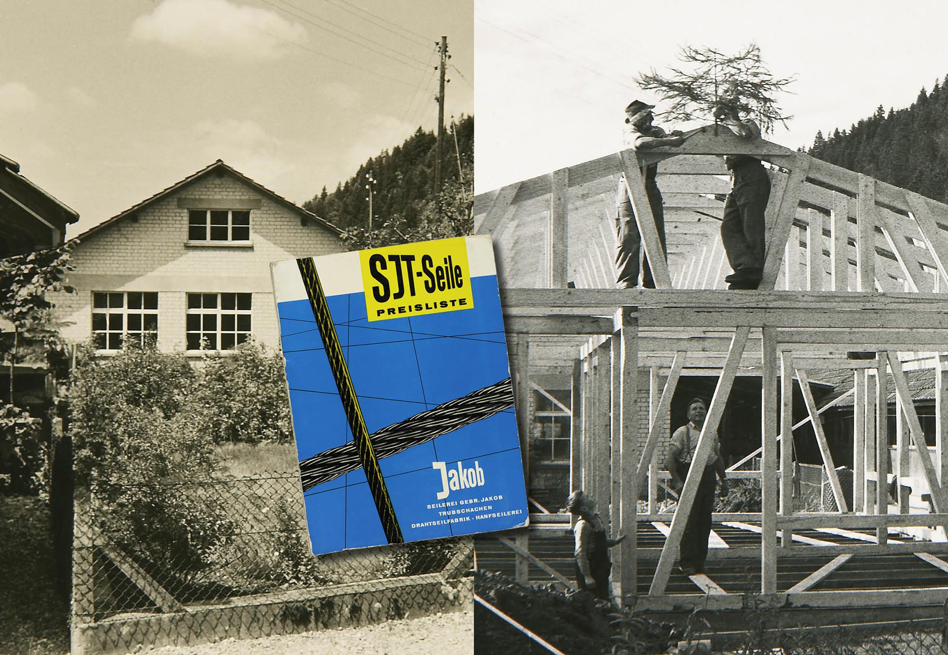 Images of the new office building, the topping-out ceremony and the cover of a price list from 1960