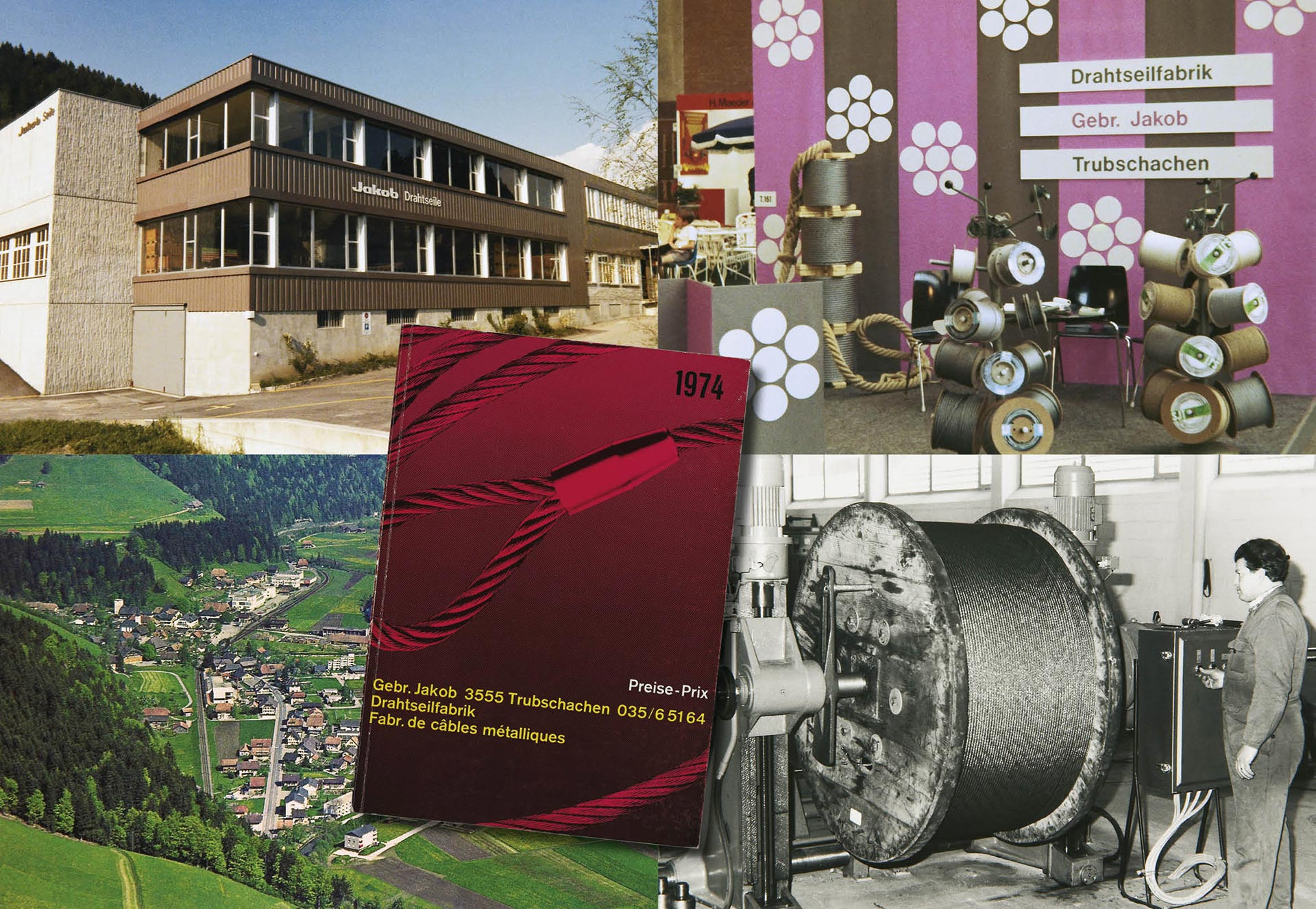 Image montage of the Jakob office in 1970s, trade fair presentations and a price list