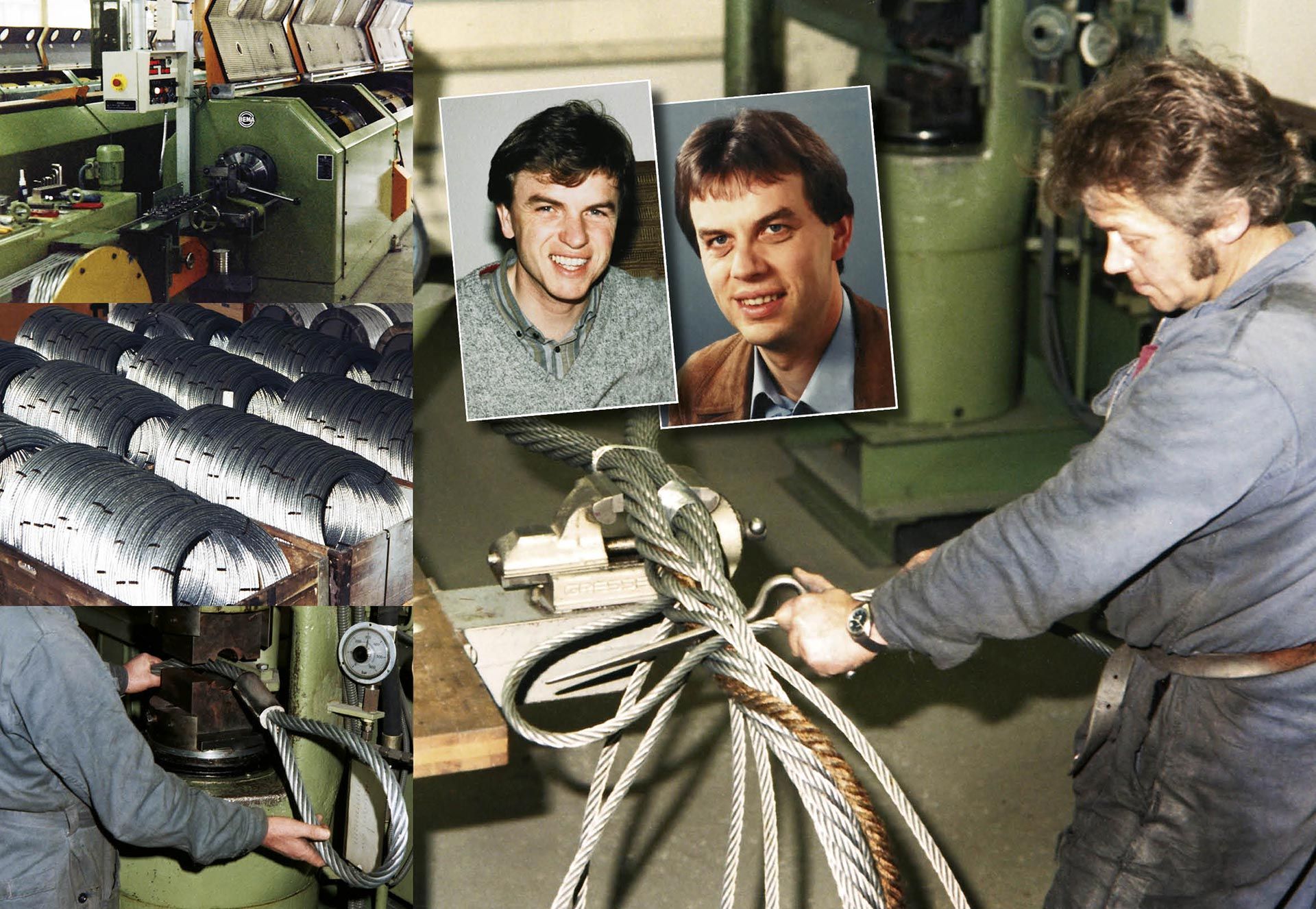 Images of wire rope production in the 1980s and Martin and Peter Jakob