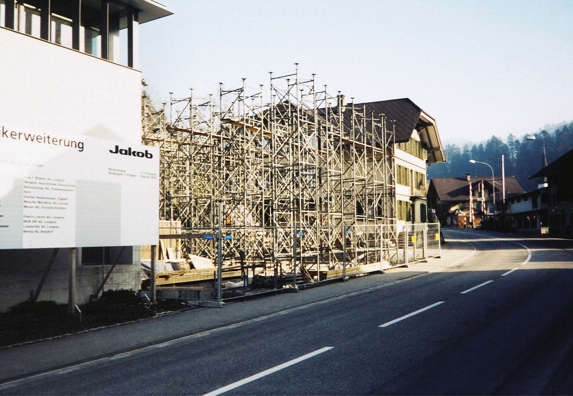 The construction site of the factory extension in 2002
