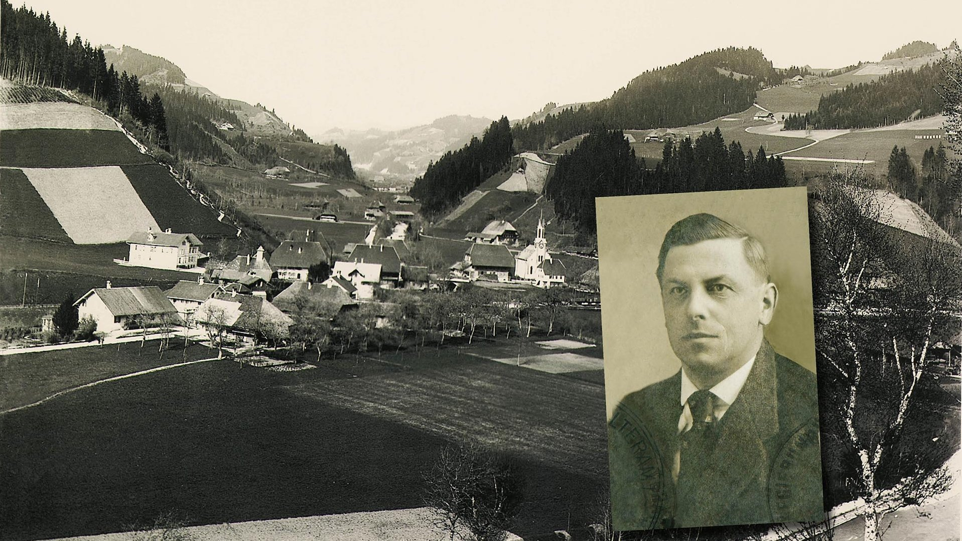 Image collage with foto of Trubschachen 1904 and a portrait of Hans Jakob