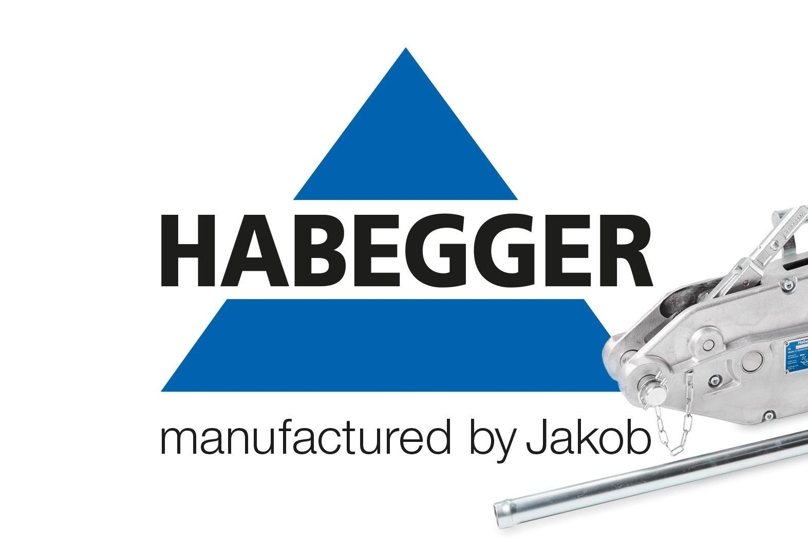 The new Habegger logo with the claim 'manufactured by Jakob' and a Habegger multi-purpose hoist