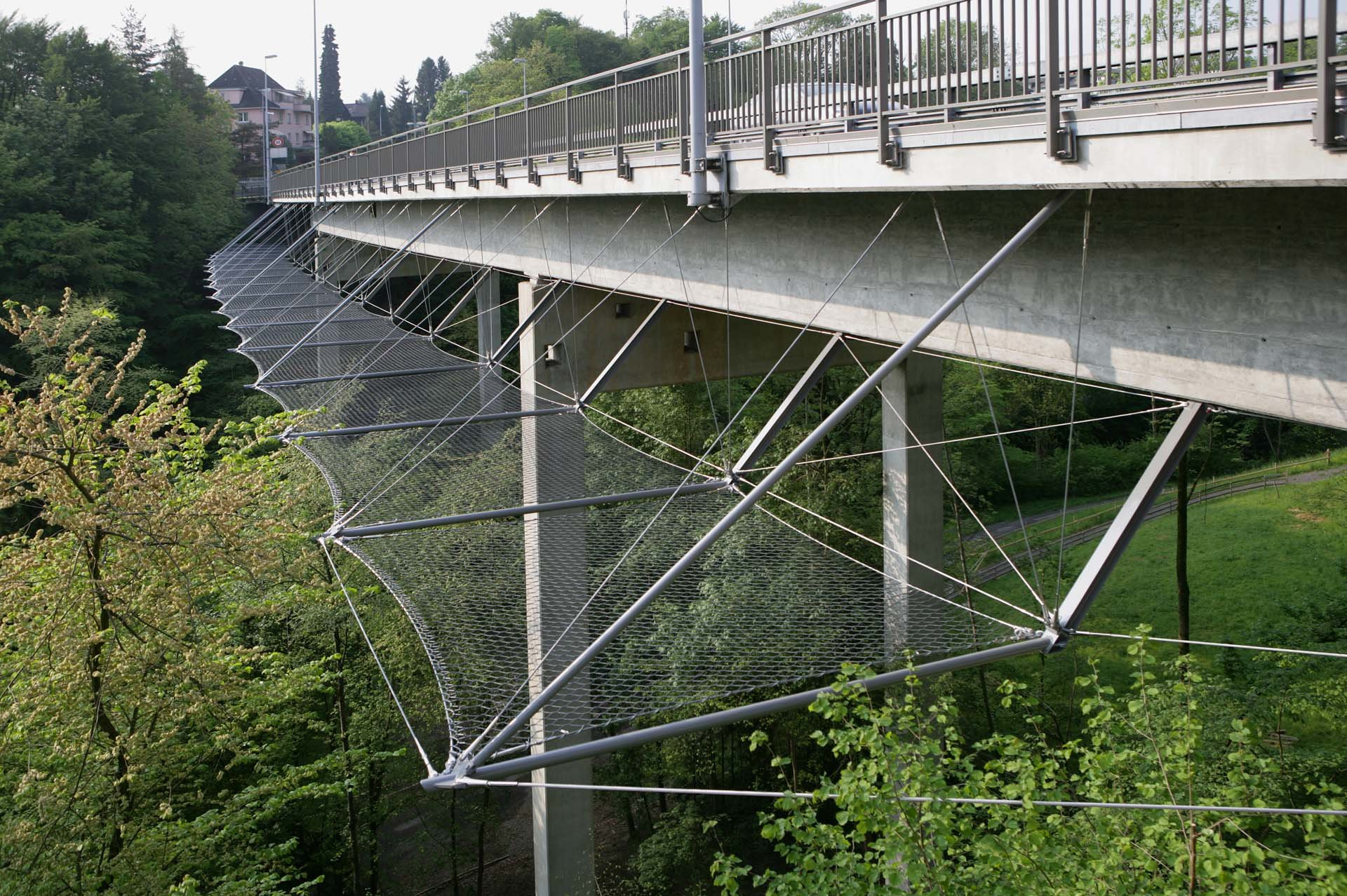 Horizontal bridge safety net in Rothenburg, Switzerland