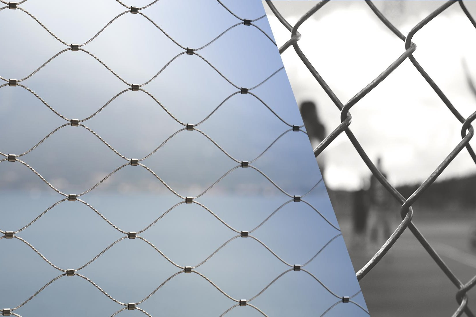 Image collage of the meshes of Webnet and of a chain link fence