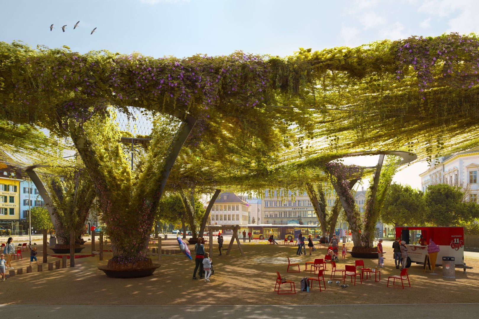 Visualisation of a possible greening on the Roter Platz in Solothurn