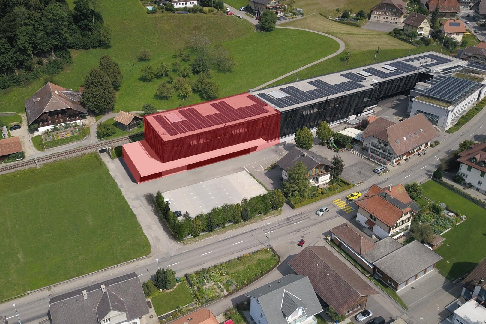 Montage of the extension of Jakob Rope Systems headquarters in Trubschachen
